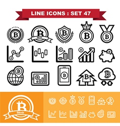 Bitcoin Line icons set 47 vector image