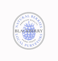 Blackberry farm badge or logo template hand drawn vector