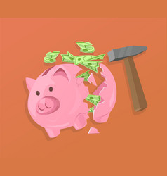 Broken piggy bank and cash vector