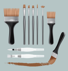brush paint mockup set realistic style vector image