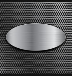 Brushed metal oval plate on perforated background vector