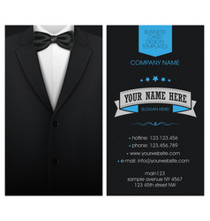 Business card elegant suit and tuxedo with bow tie vector