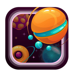 Cartoon app icon with fantasy planets vector