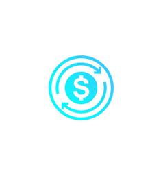 Cashback money refund icon vector