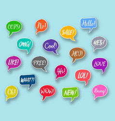 chat bubbles collection text expressions vector image