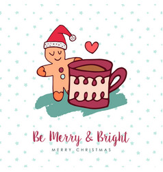 christmas cute gingerbread man holiday cartoon vector image