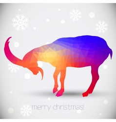 Christmas greeting cards with goat symbol of year vector image