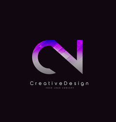 Cn letter logo design purple texture creative vector