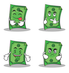 Collection dollar character cartoon style set vector