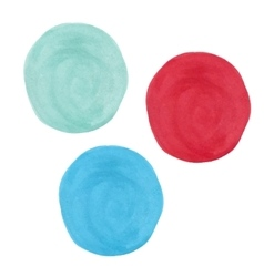 Colored spots of watercolor paint - red turquoise vector image
