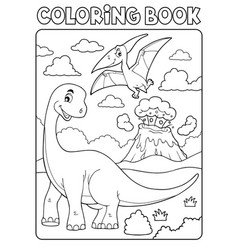 coloring book dinosaur subject image 8 vector image