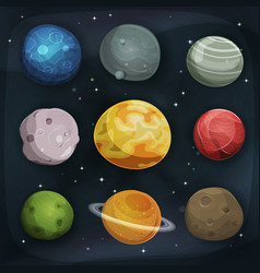 Comic planets set on space background vector