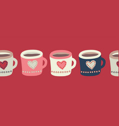 cups with hot chocolate or tea seamless vector image