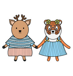 Cute female tiger with reindeer vector
