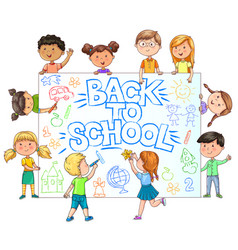 Cute kids hold banner back to school with painted vector