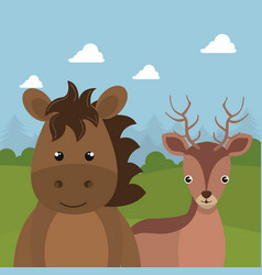 Cute reindeer and horse in the field landscape vector