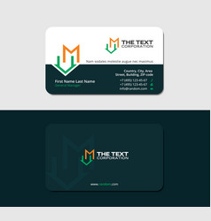 Dark green business card with letter m and mansion vector