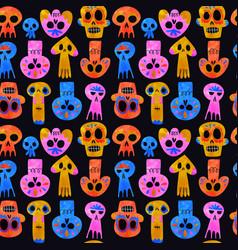 Day dead watercolor skull seamless pattern vector