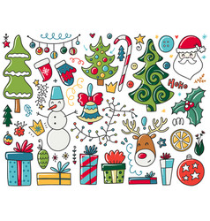 doodles christmas elements color items with new vector image