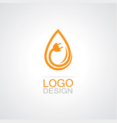 drop water electricity logo vector image