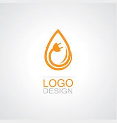 Drop water electricity logo vector