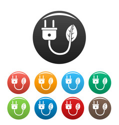 eco energy plug icons set color vector image