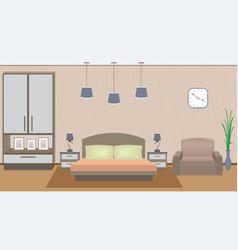 Elegant bedroom interior with furniture vector