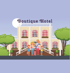 family vacation in boutique hotel vector image