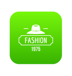Fashion hat icon green vector