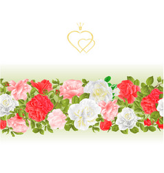 Floral border seamless background with blooming vector