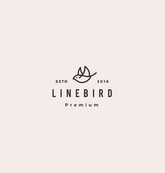 Flying bird logo hipster retro vintage line vector