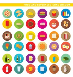 food and beverages icons shadow vector image