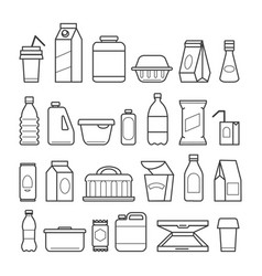 food package line icons vector image