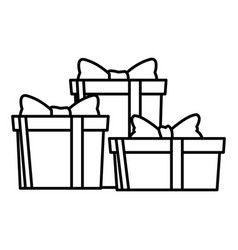 gift boxes icons black and white vector image
