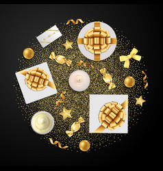 Gold objects set with glitter for luxury holidays vector
