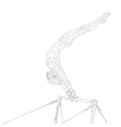 Gymnastics women athlete in uneven bars vector