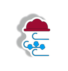 Hail and wind cloud sticker vector