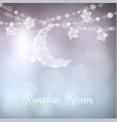 hand drawn ornamental moon and stars festive vector image