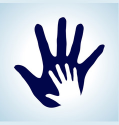 Hand in hand in white and blue idea of help vector