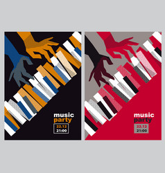 Hands and piano keys vector
