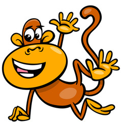 Happy monkey animal character cartoon vector