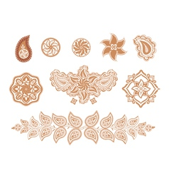 Henna flowers and paisley vector