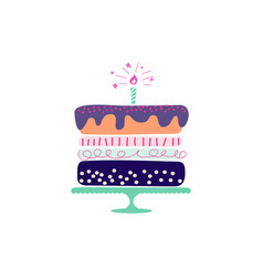 holiday cake hand drawn style vector image
