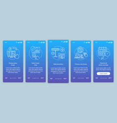 Hotel room booking onboarding mobile app page vector