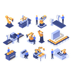 isometric industrial robots assembly line vector image