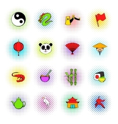 Japan set icons vector image