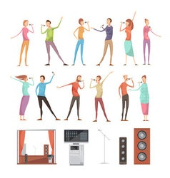 Karaoke party elements set vector