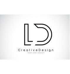 Ld l d letter logo design in black colors vector