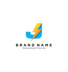 Letter j flash electrical logo design vector
