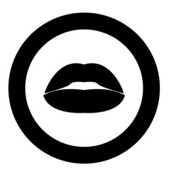 lipstick or lips icon black color in circle vector image
